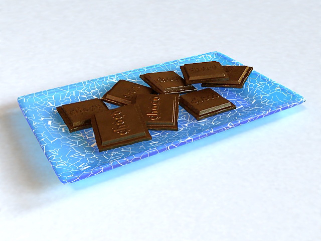 Chocolate on Plate 3d model