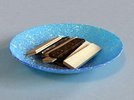 Wafer Cookies on Plate 3d model