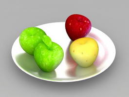 Apples on White Plate 3d model