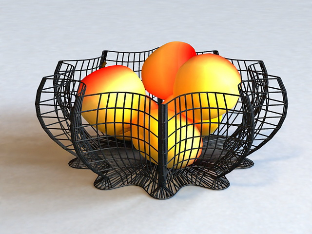 Fruits in Wire Basket 3d model