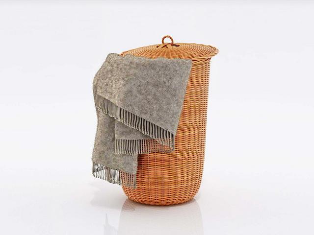 Wicker Laundry Basket 3d model