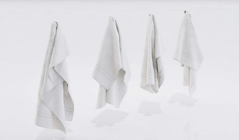 White Hand Towels 3d model