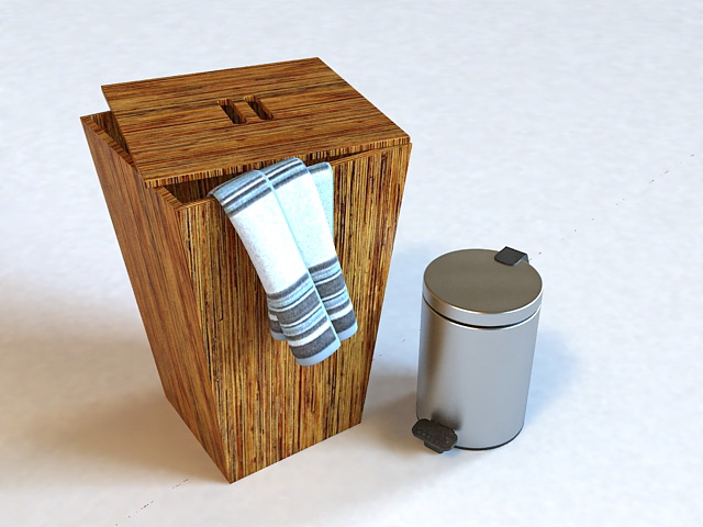 Wooden Laundry Bin and Trash Bin 3d model