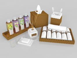 Wicker Bath Accessories Sets 3d model
