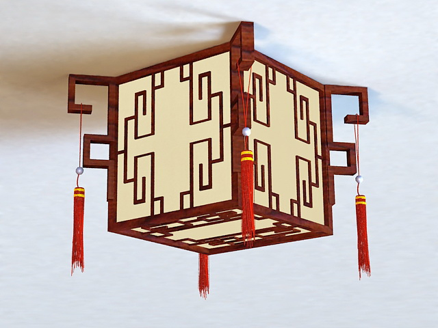 Wood Living Room Ceiling Light 3d model