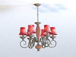 Black Country Chandelier with Shades 3d model