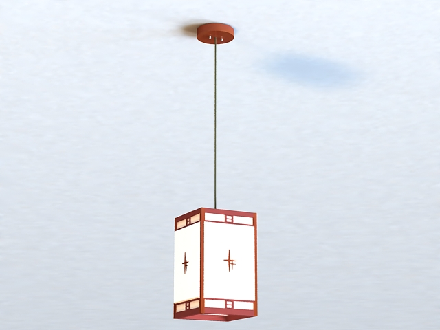 Japanese Style Pendant Light 3d model