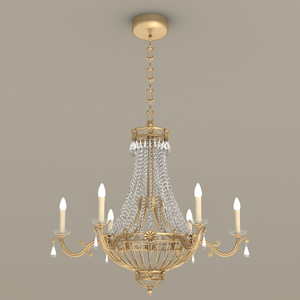 Tuscan Chandelier with Crystals 3d model