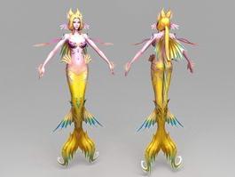 Yellow Mermaid 3d model