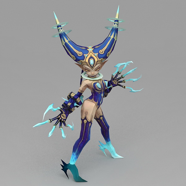 Blue Skinned Dark Elf 3d model