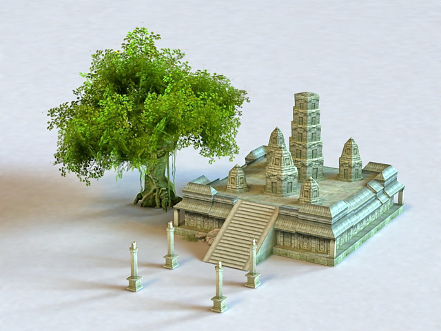Ancient Temple Altar Ruins 3d model