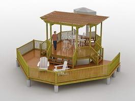 Garden Pond Deck 3d model