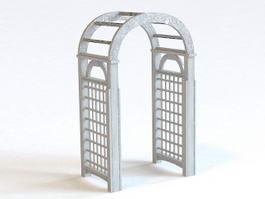 Arched Garden Trellis Arch 3d model