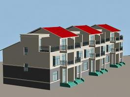 Modern Row Houses 3d model