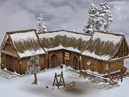 Medieval Farmhouse in Snow 3d model