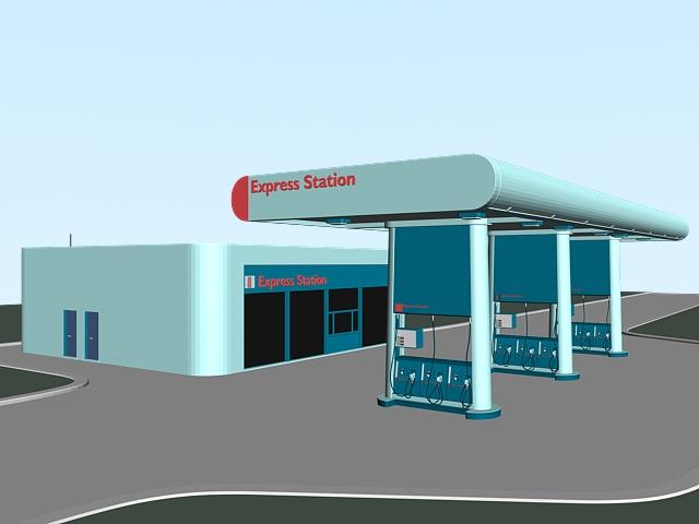 Express Gas Station 3d model