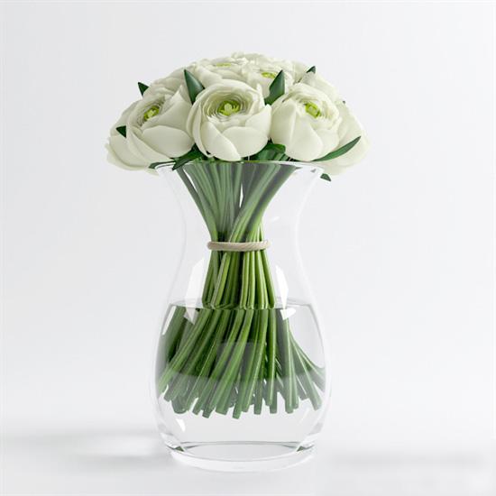 Glass Vase with White Roses 3d model