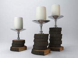 Tree Stump Candle Holders 3d model