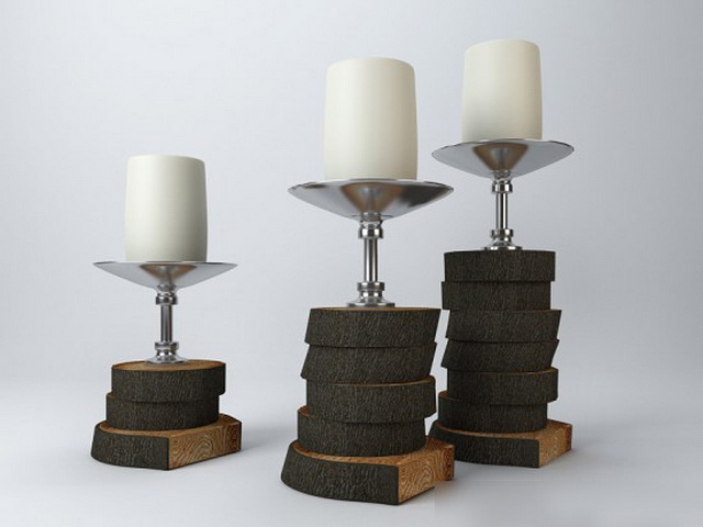 Tree Stump Candle Holders 3d model