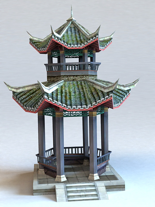 Ancient Chinese Pavilion 3d Model 3ds Max Files Free