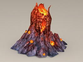 Volcano with Lava 3d model
