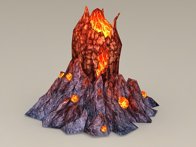 Volcano With Lava 3d Model 3ds Max Files Free Download