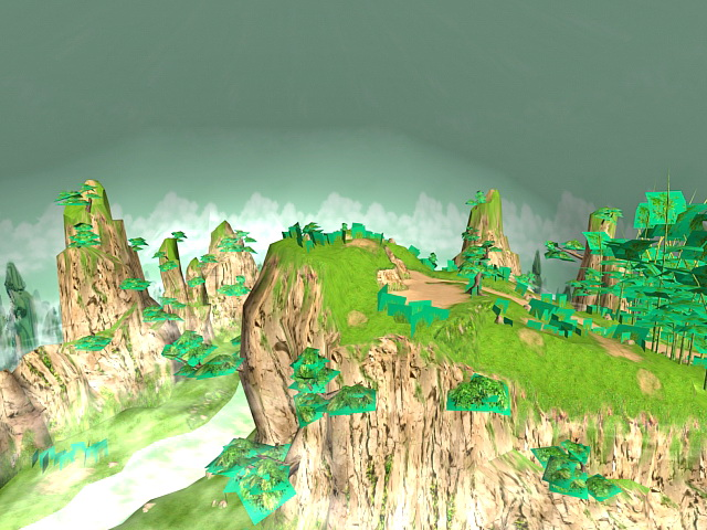 Beautiful Mountains with Trees and Water 3d model