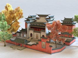 Chinese Monastery 3d model