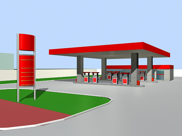 Gas Station Convenience Store 3d Model 3ds Max Files Free