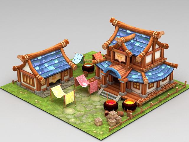 Anime Farmyard Scene 3d model