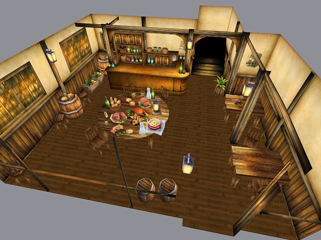 Medieval restaurant interior d model ds max files free
