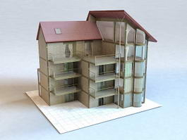 Modern Apartment Building 3d model