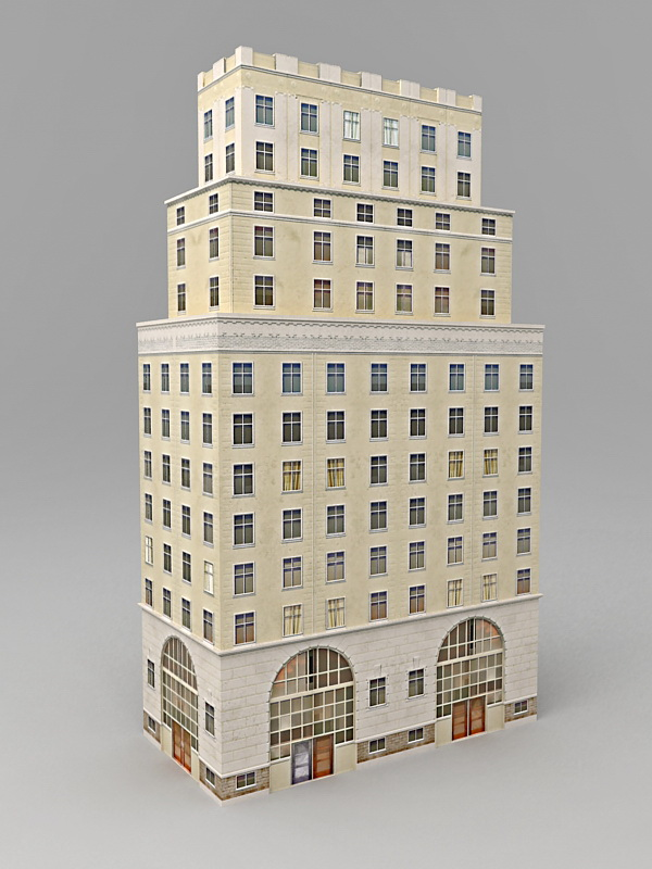 Old Office Architecture Exterior 3d model