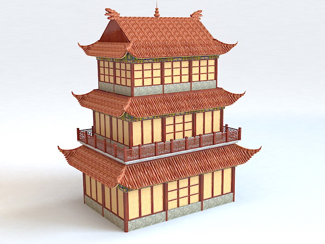 Chinese Belfry Architecture 3d model