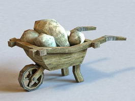 Old Cart with Stones 3d model
