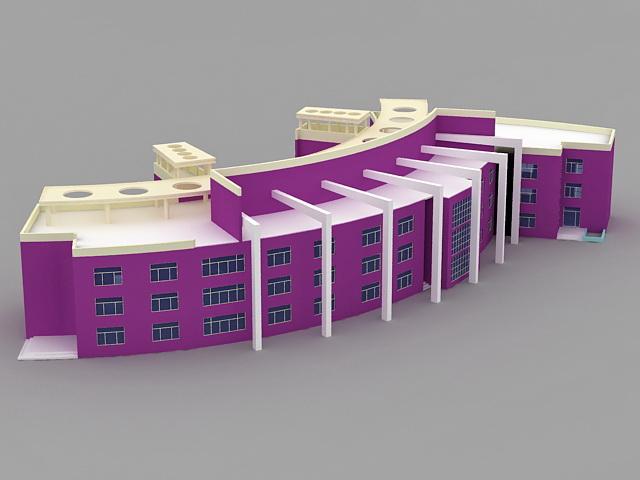 Public Library Building 3d model