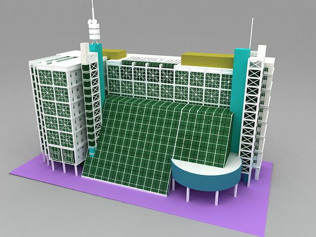 Modern Hotel Buildings 3d model