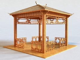 Small Wood Garden Gazebo 3d model