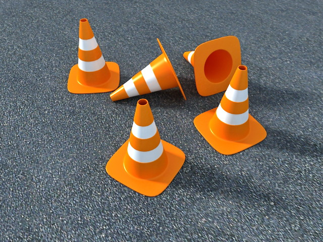 Orange Traffic Cones 3d model