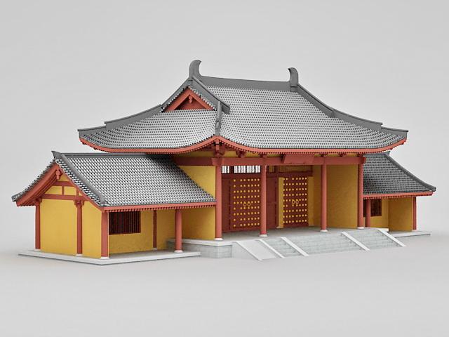Sanmon Gate of Temple 3d model