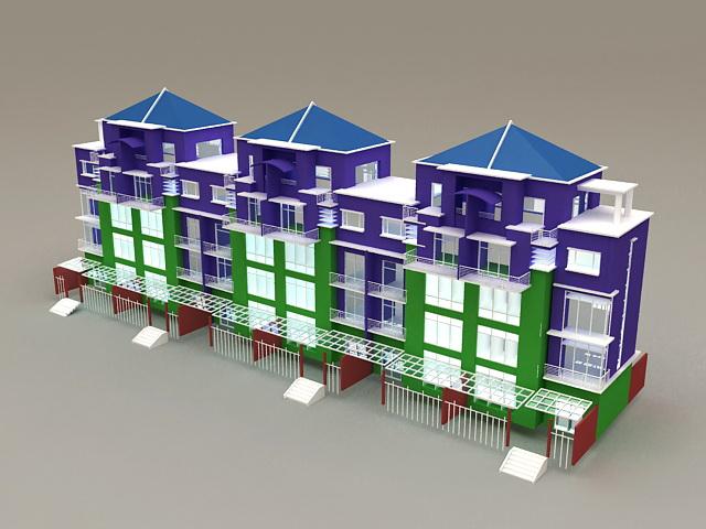 Modern Terraced Houses 3d model
