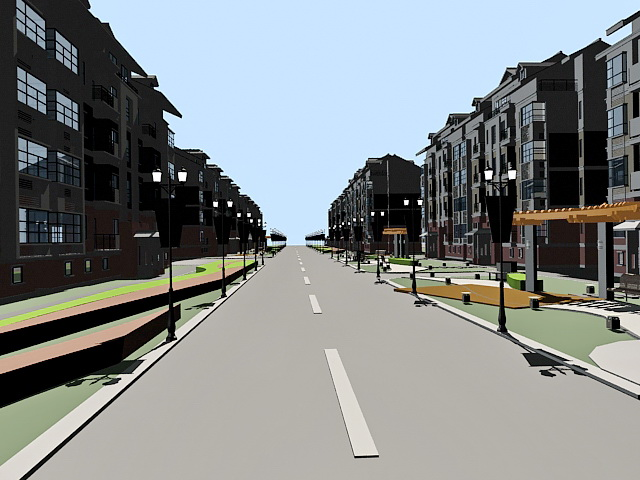 Residential Street 3d model 3ds Max files free download - modeling