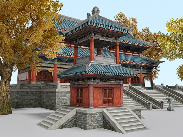 Chinese Buddhist Temple 3d Model 3ds Max Files Free