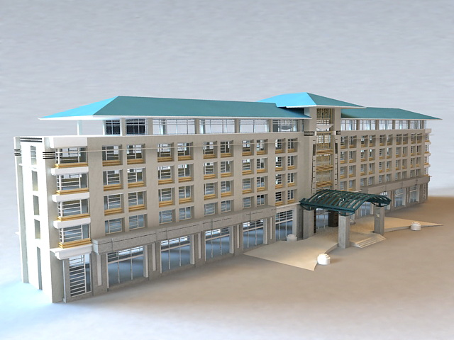 Small Hotel Buildings 3d model