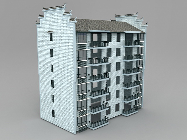China Apartment Building 3d model