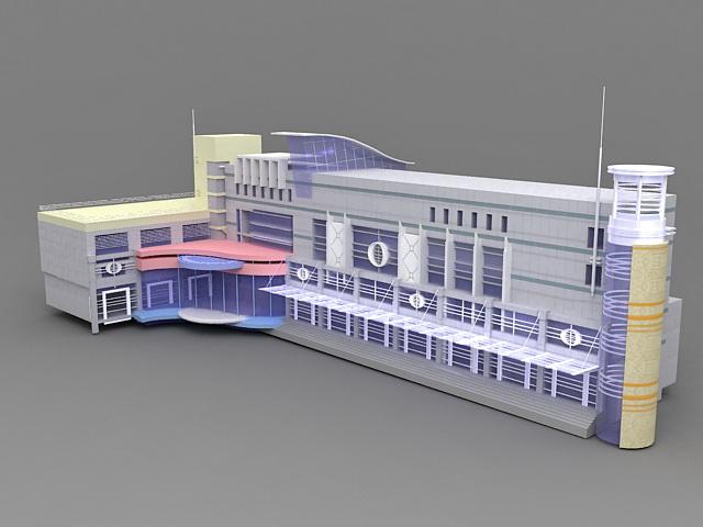 Small Hotel Exterior Design 3d model