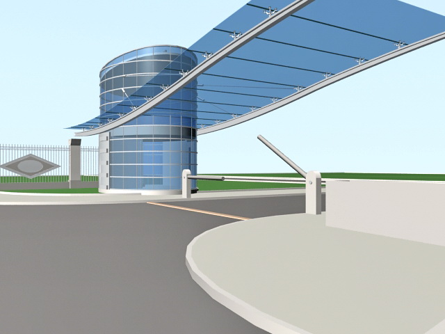 Modern Front Gates and Gatehouse 3d model