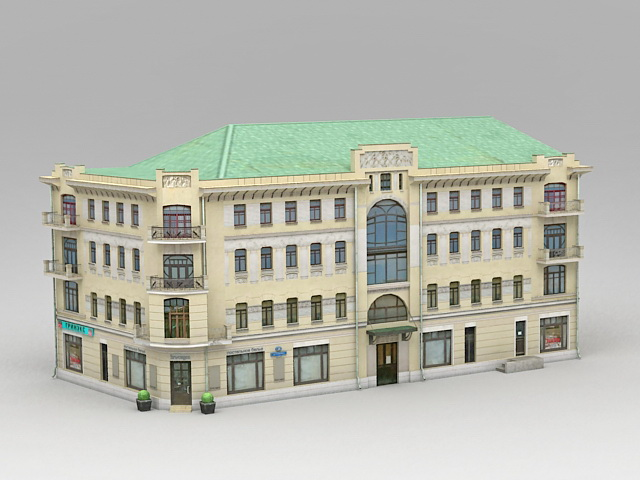 Old Tenement Buildings 3d model