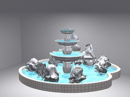 Fountain with Rockery 3d model