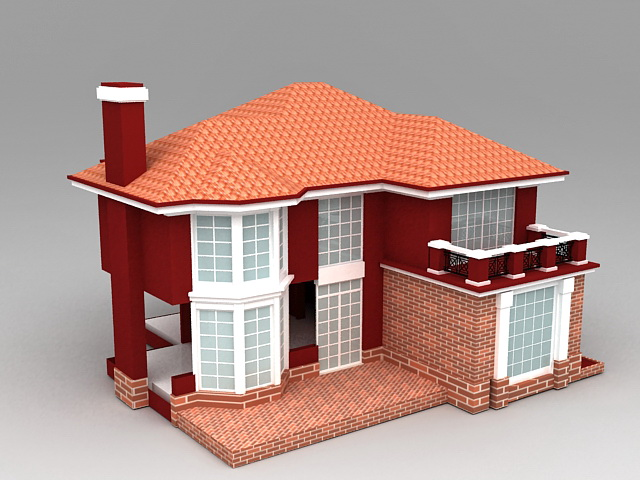 Country House Plans with Garage 3d model